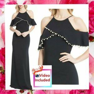 $795 NWT BADGLEY MISCHKA Cold Shoulder Gown 14 L